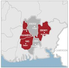 Maps showing south east states in Nigeria